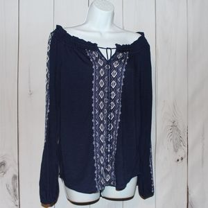 NWT Embroidered Blouse white house black market M